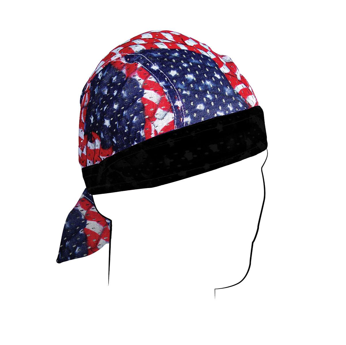 ZAN headgear Wavy American Flag Vented Sport Flydanna Headwrap
