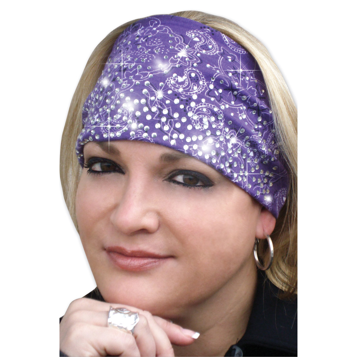 That's A Wrap Bandana Purple Knotty Band with Rhinestones