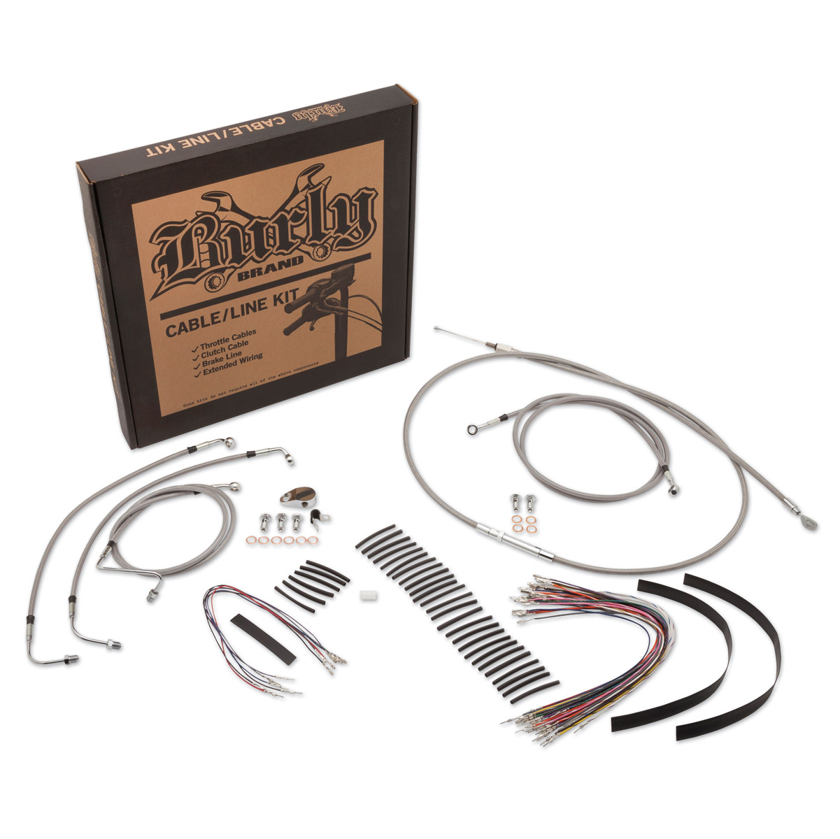 Burly Brand Braided Stainless 13″ Ape Hanger Cable/Brake/Wiring Kit