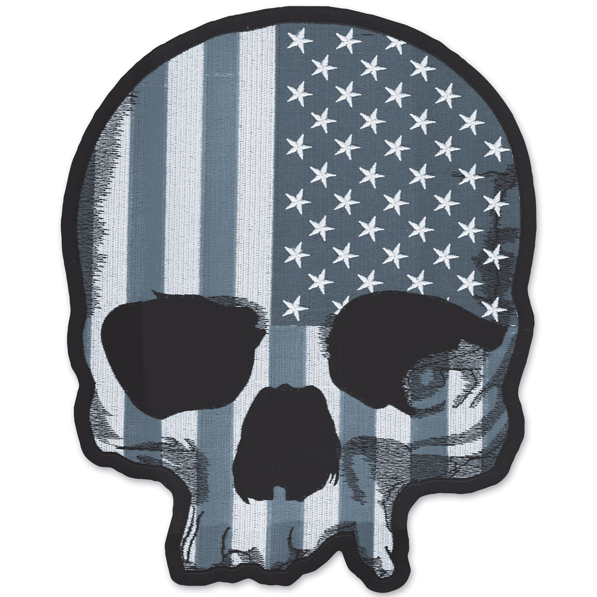 Lethal Threat USA Flag Skull Gray Embroidered Patch