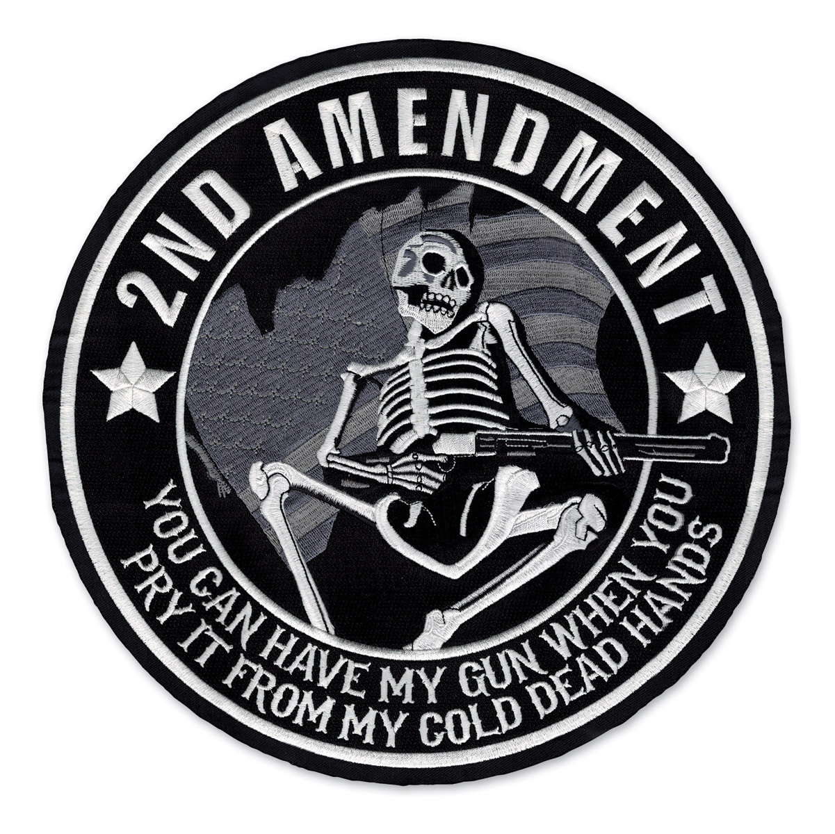 Lethal Threat 2nd Amendment Skull Small Embroidered Patch