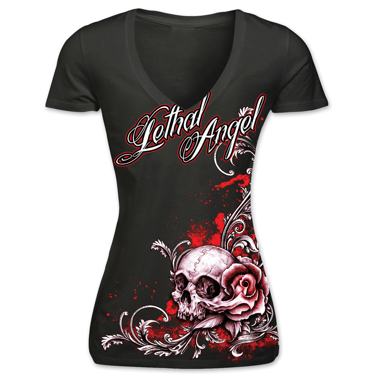 Lethal Threat Ladies Lethal Angel Deep V-neck Black T-shirt