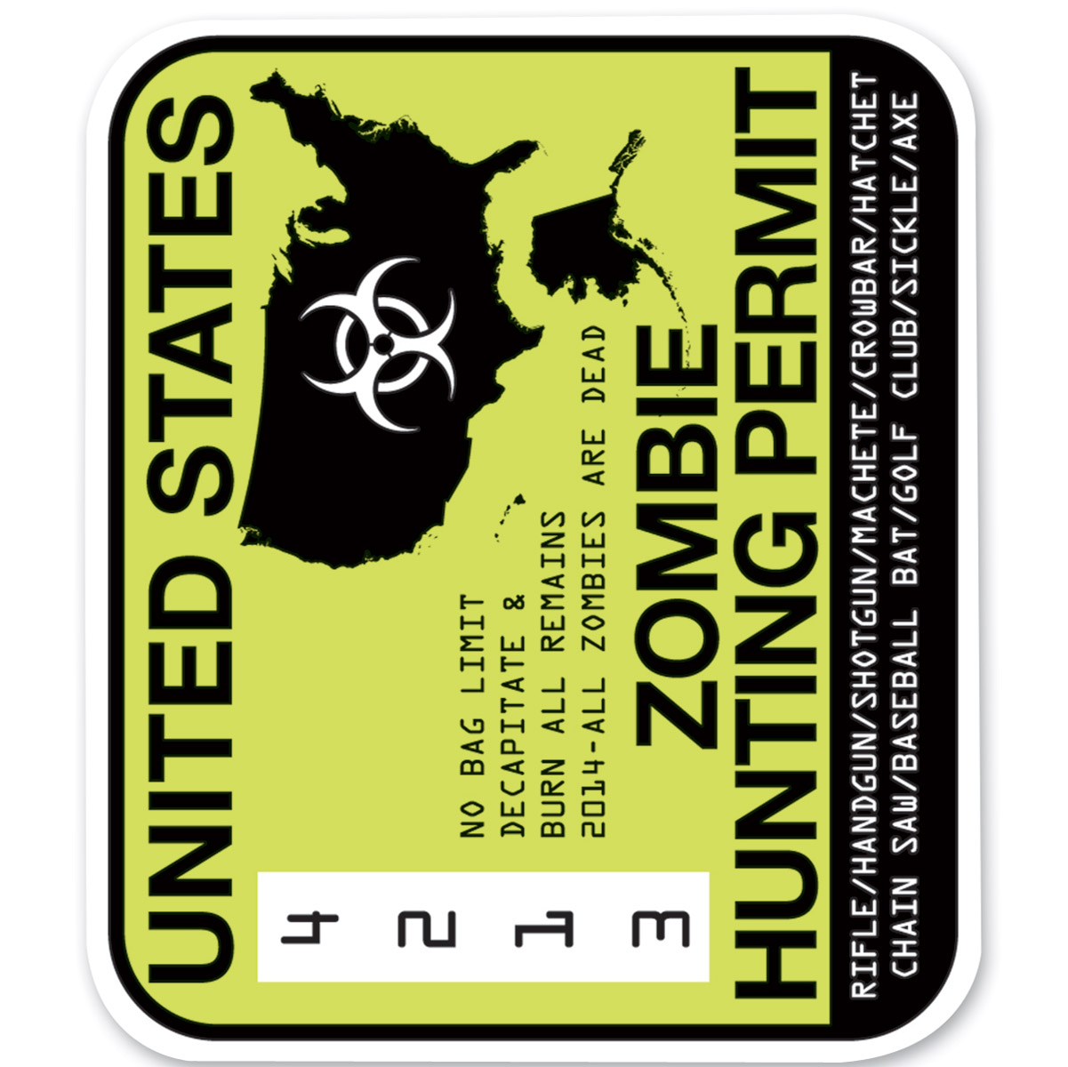 Lethal Threat Rude & Crude Zombie Permit Mini Decal