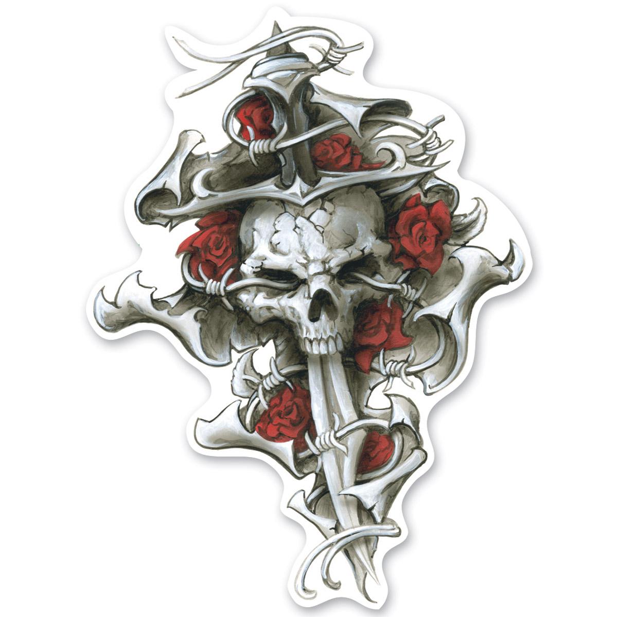 Lethal Threat Rude & Crude Roses N Dagger Skull Mini Decal
