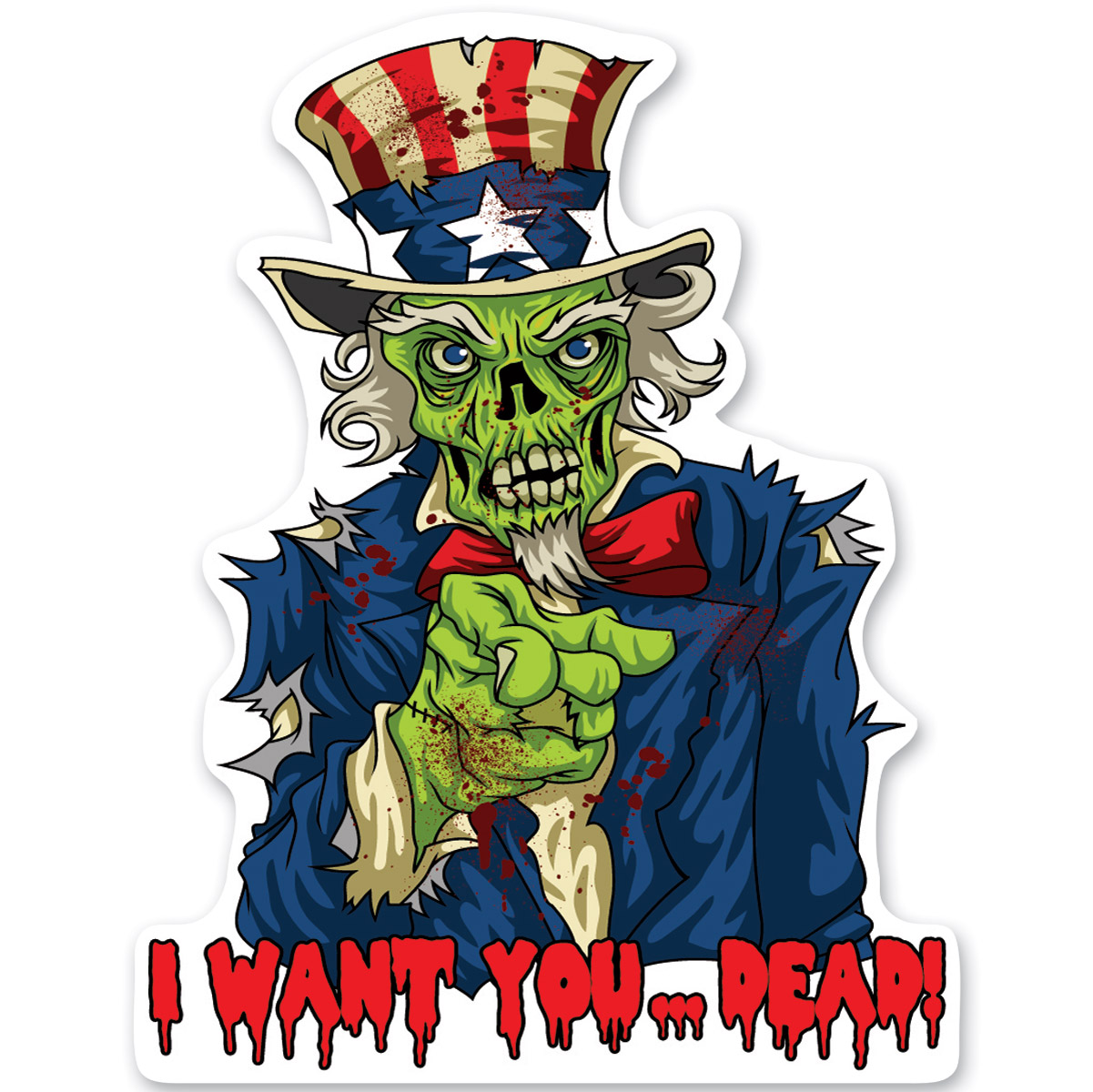Lethal Threat Rude & Crude Zombie Uncle Sam Mini Decal