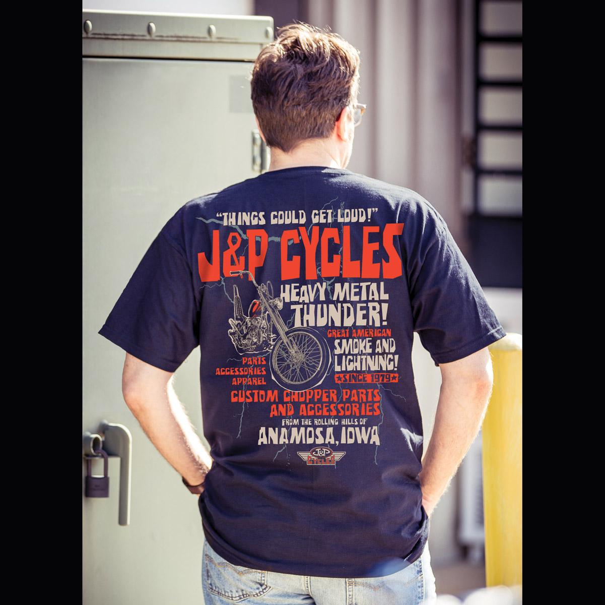 J&P Cycles® Heavy Metal Thunder Navy Pocket T-Shirt