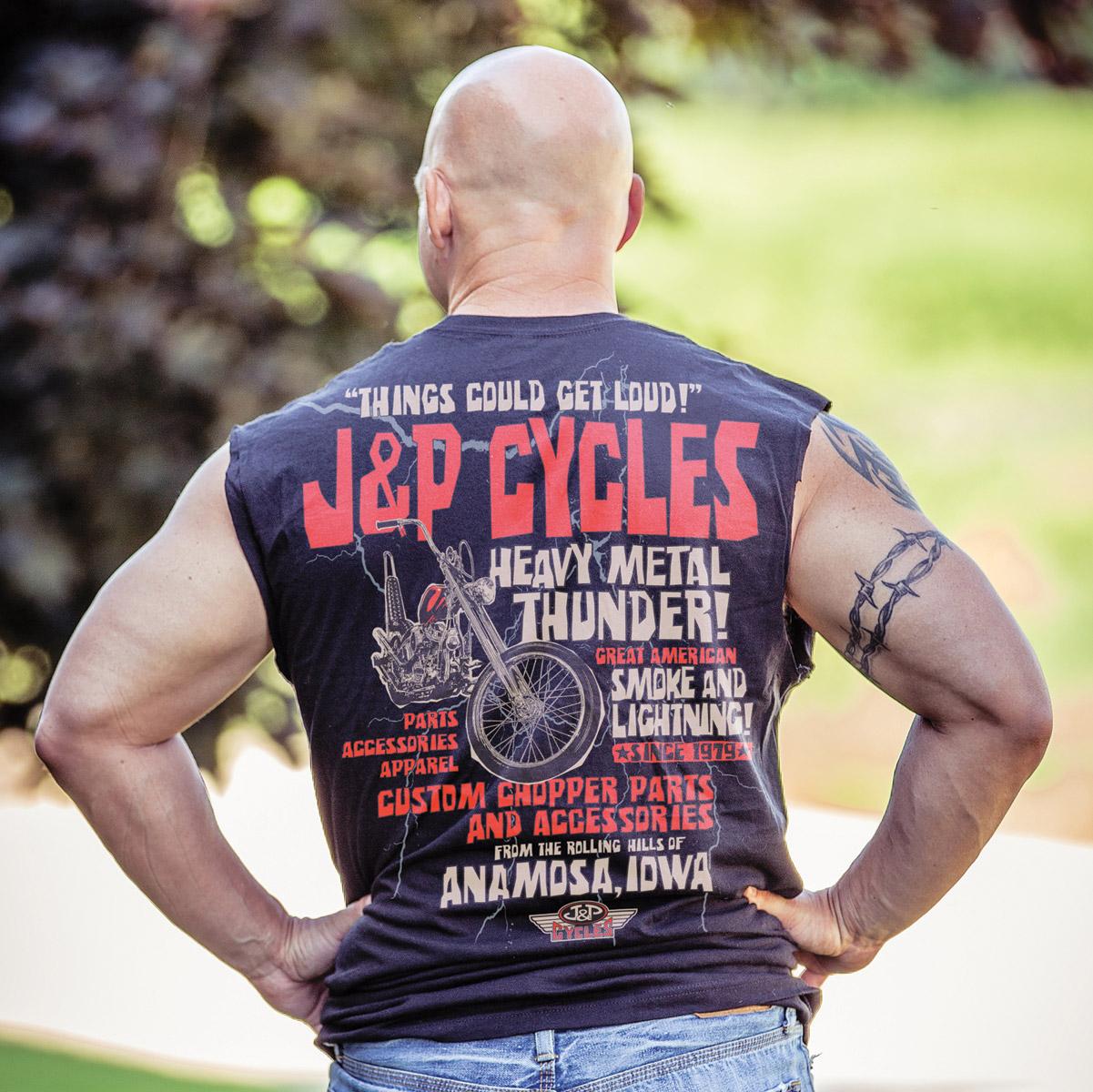 J&P Cycles® Heavy Metal Thunder Navy Sleeveless T-Shirt