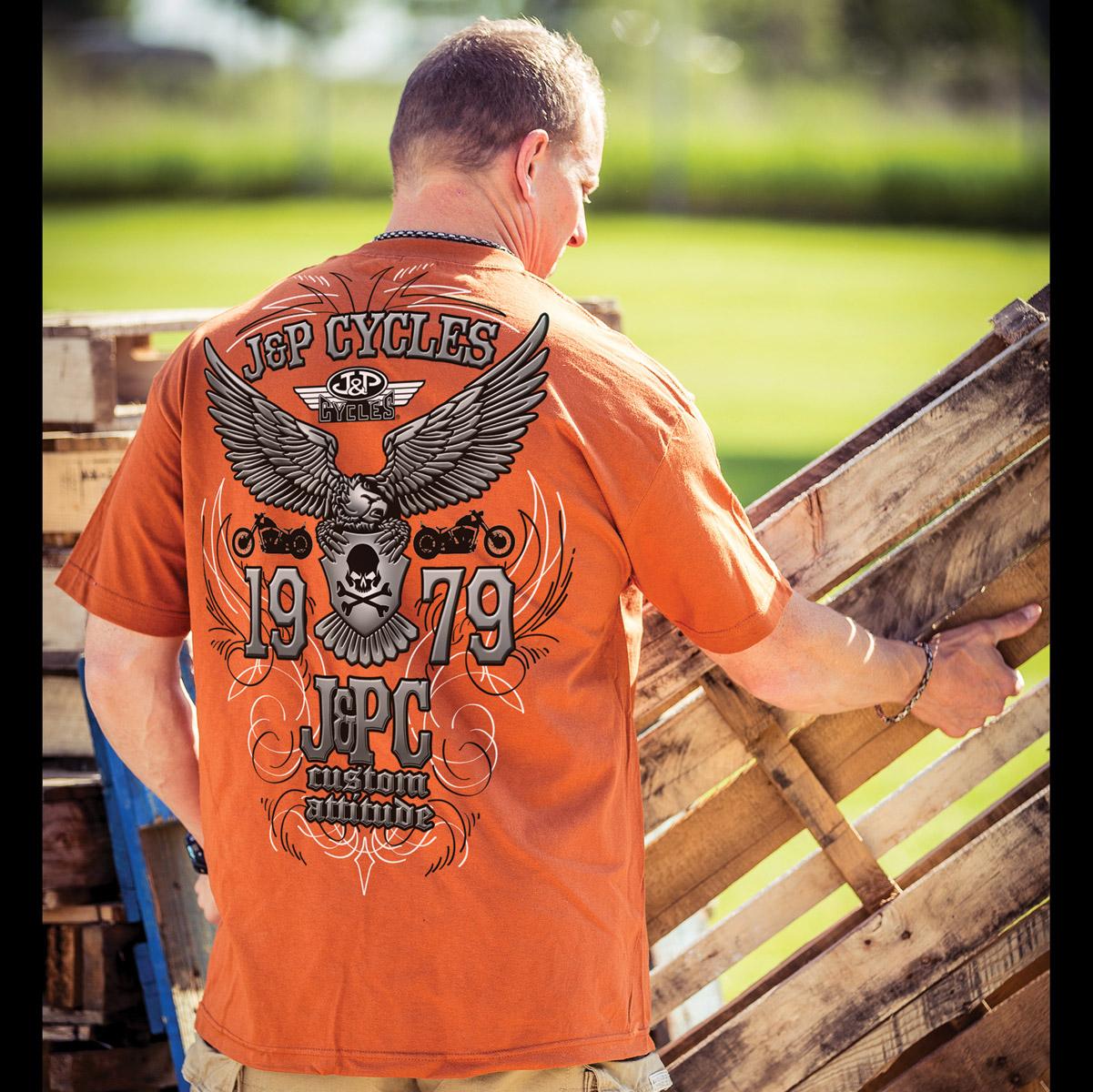 J&P Cycles® Pinstripe Chrome Texas Orange T-Shirt