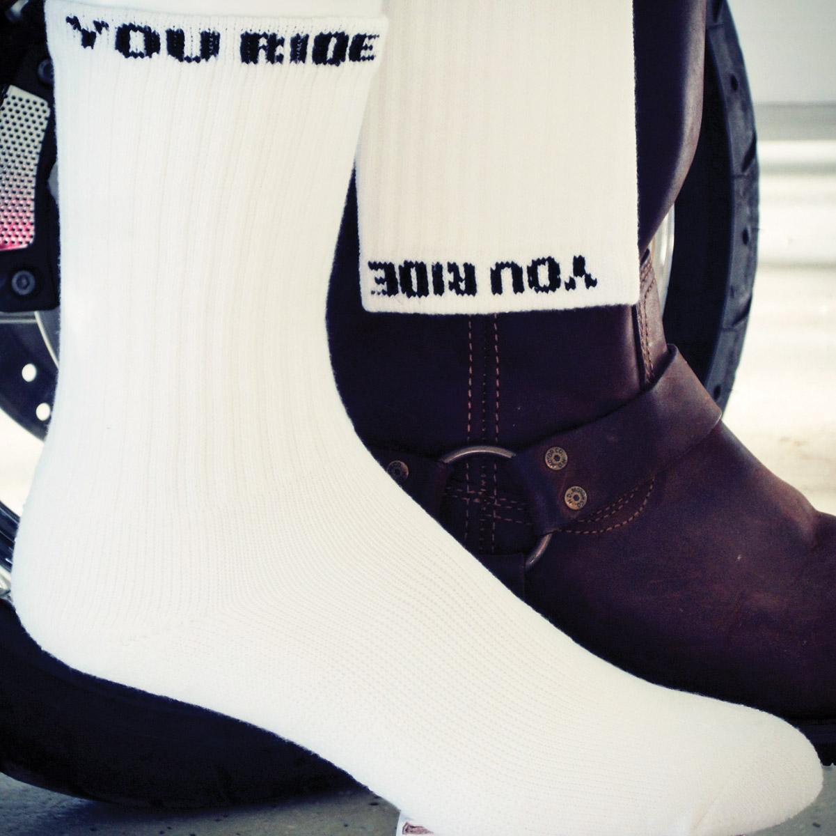You Ride White Riding Socks