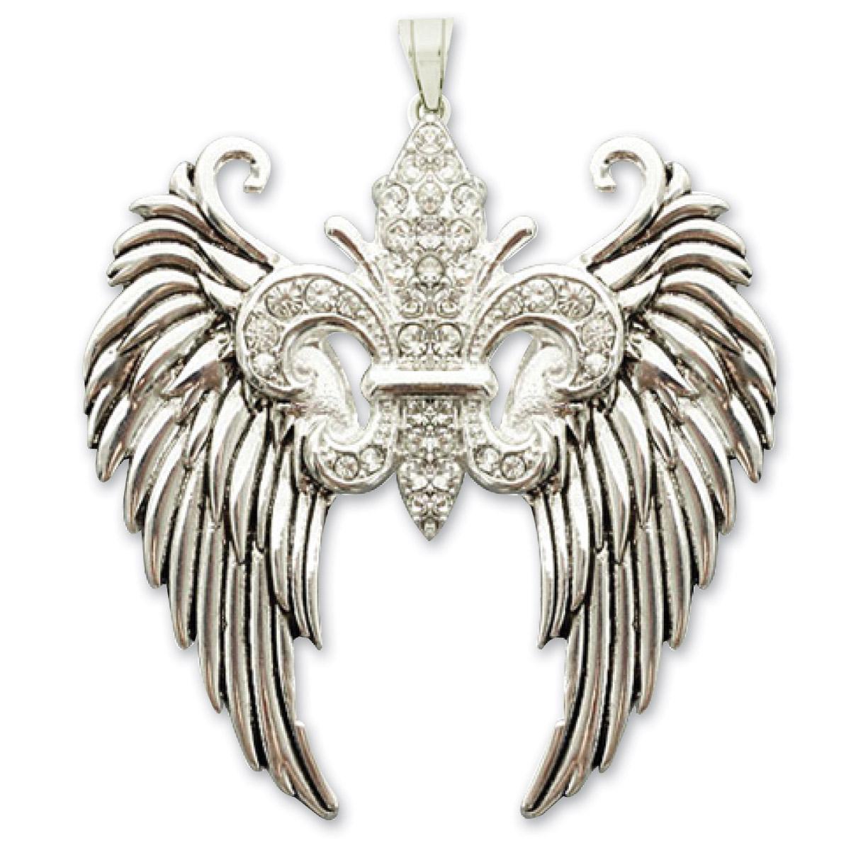 Hair Glove Angel Wings Fleur De Lis with Clear Stones Zipper Pull