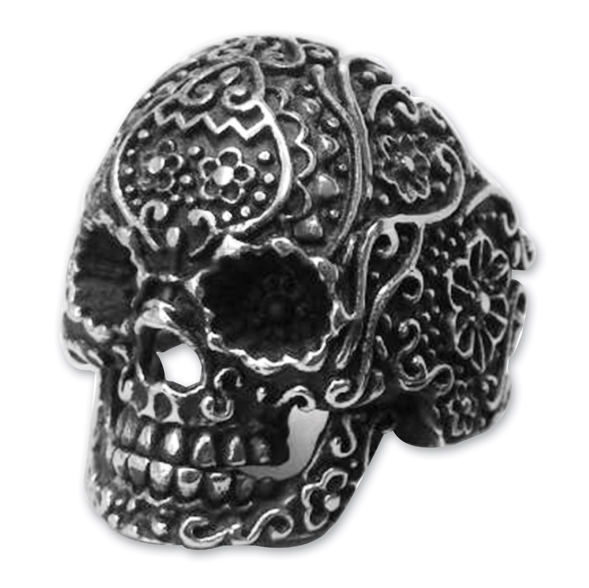 Hair Glove Antique Silver Stainless Silver Illustrated Sugar Skull Ring