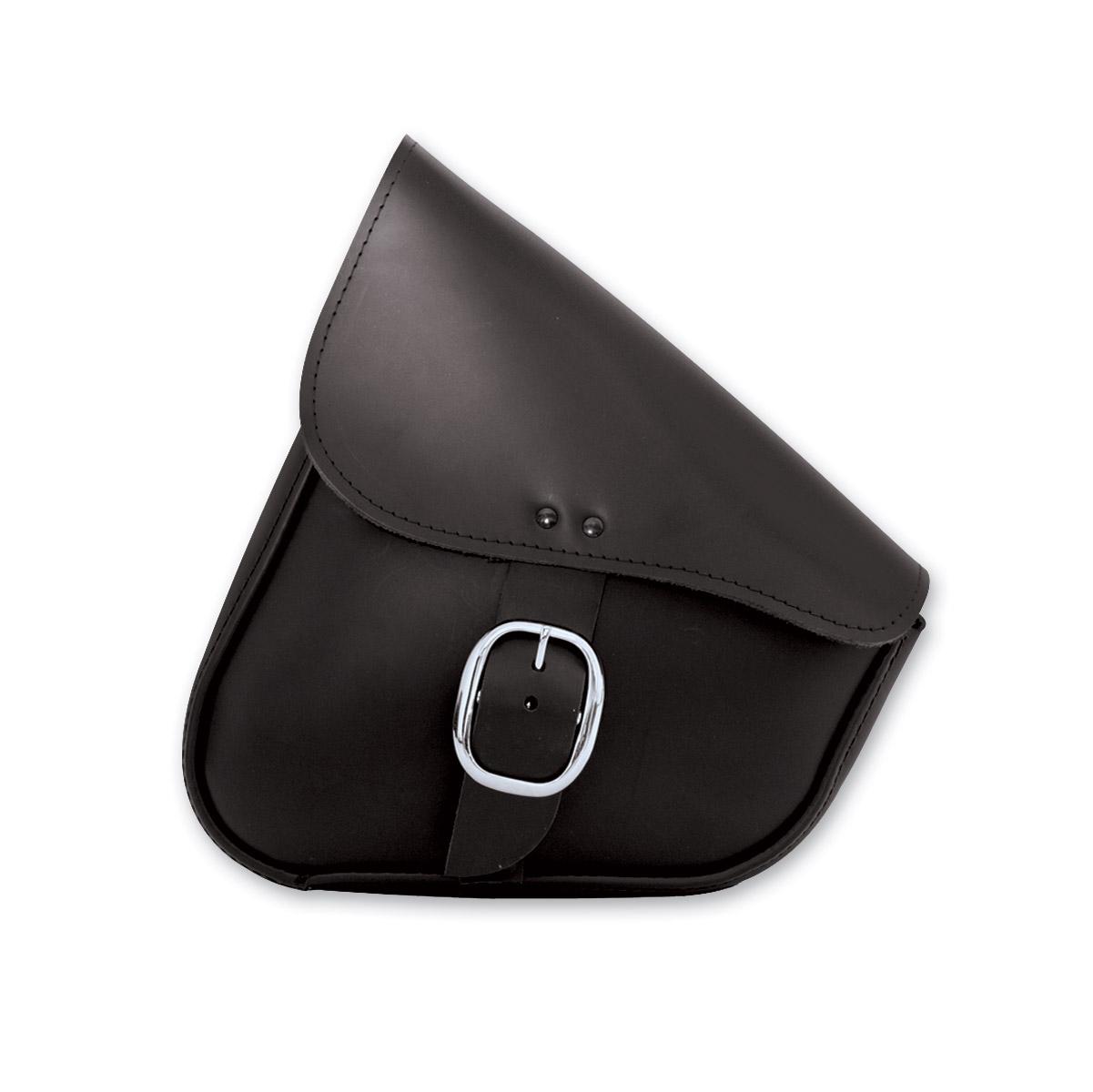 Willie & Max Black Leather Swingarm Bag with Chrome Buckle