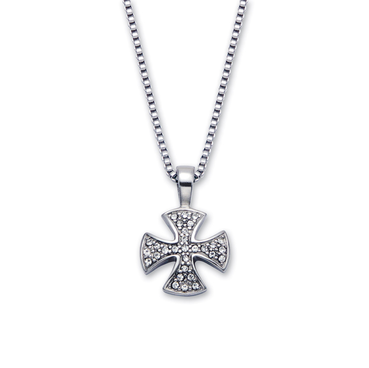 Wildthings Stainless Steel Necklace Rhinestone Cross with 20″ Chain