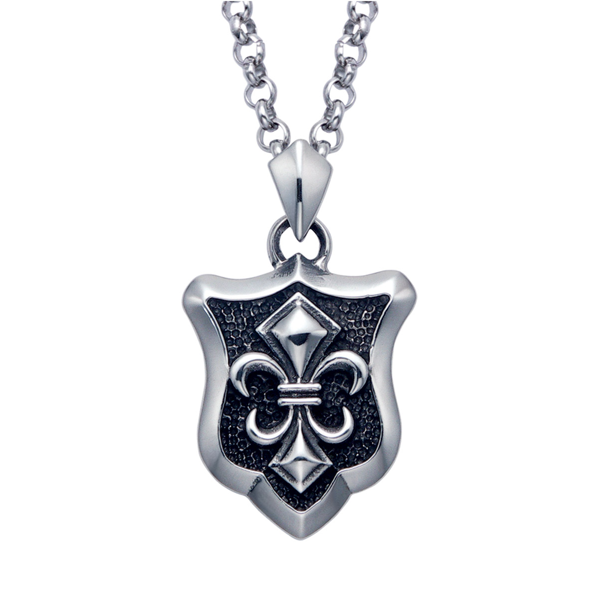 Wildthings Stainless Steel Necklace Fleur De Lis Shield with 24″ Chain
