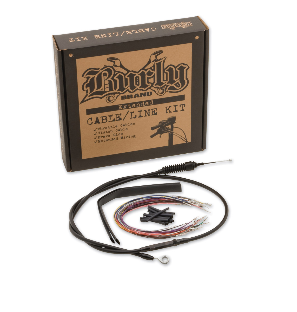Burly Brand Black 15″ Ape Hanger Cable/Brake/Wiring w/ ABS