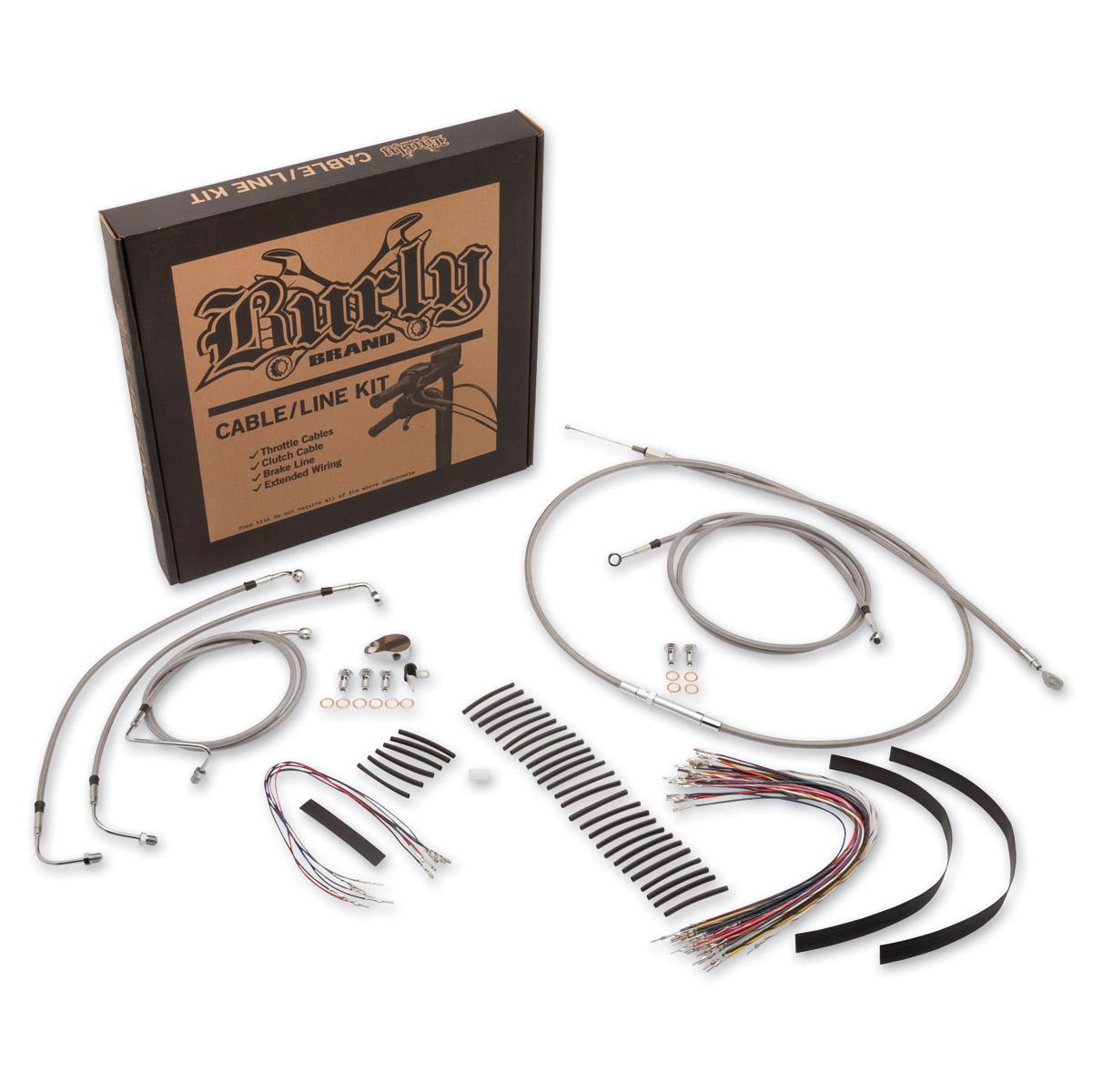 Burly Brand Stainless 13″ Ape Hanger Cable/BrakeWiring Kit