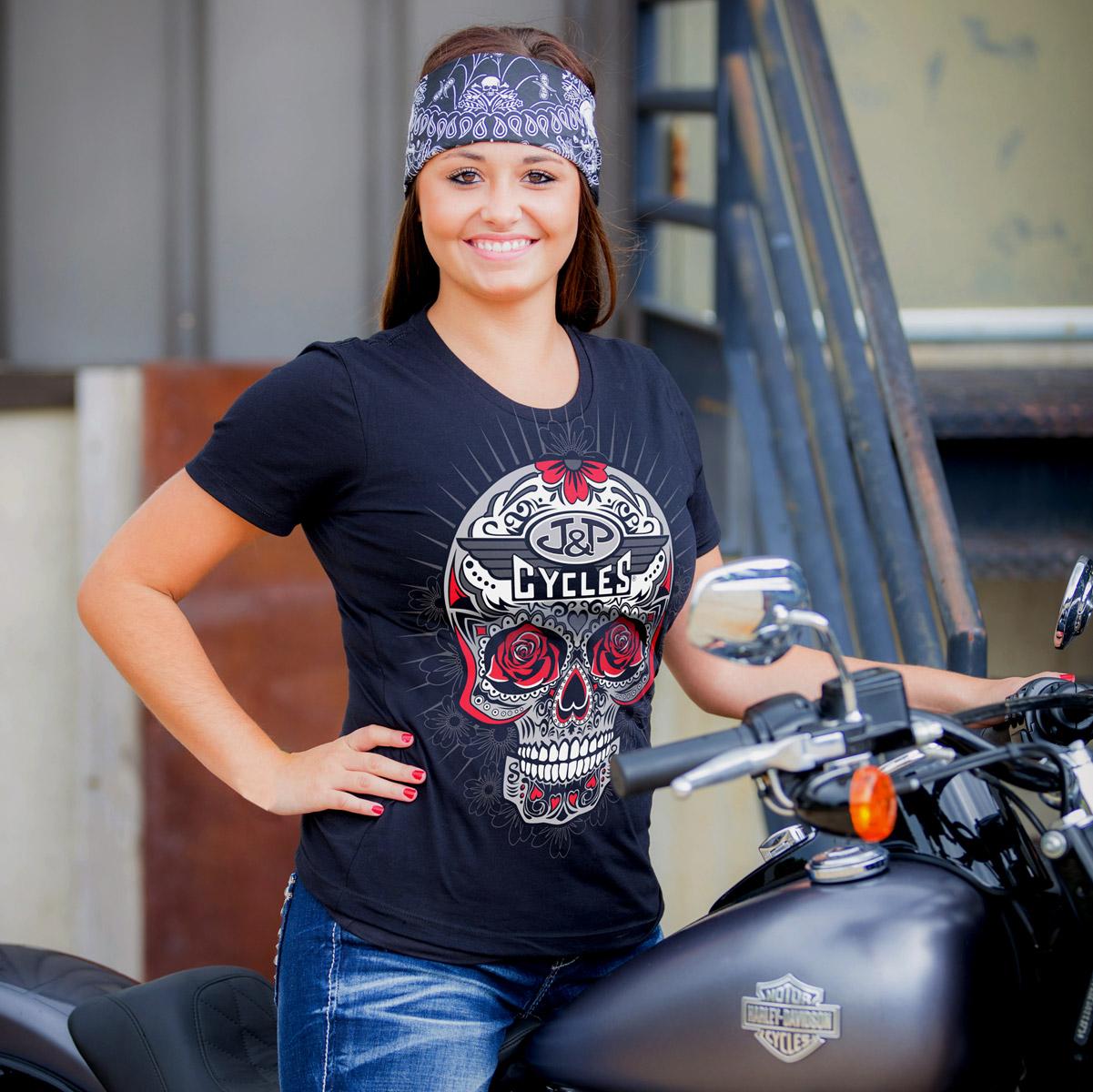 J&P Cycles® Red Sugar Skull Ladies Black T-shirt