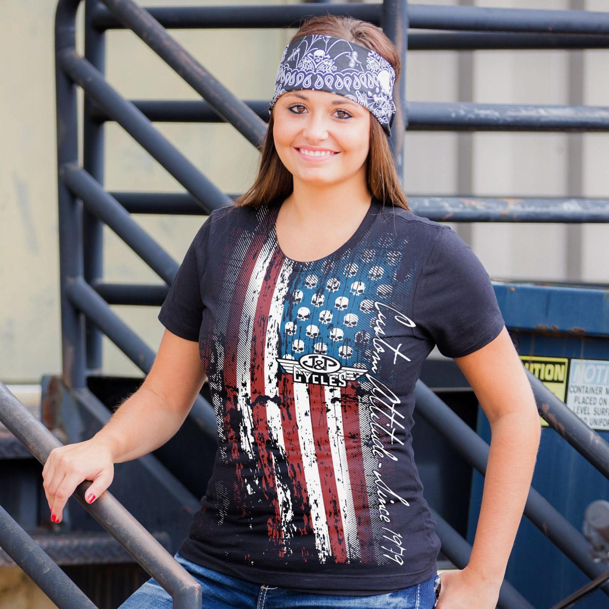 J&P Cycles® Flag Ladies Black T-shirt