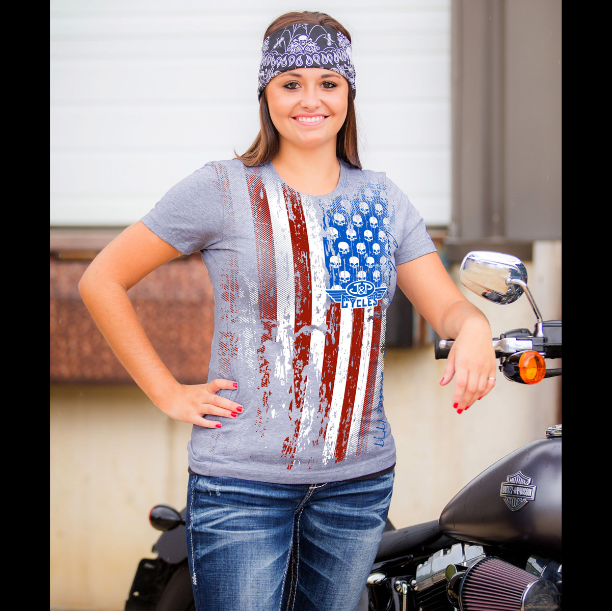 J&P Cycles® Flag Ladies Gray T-shirt