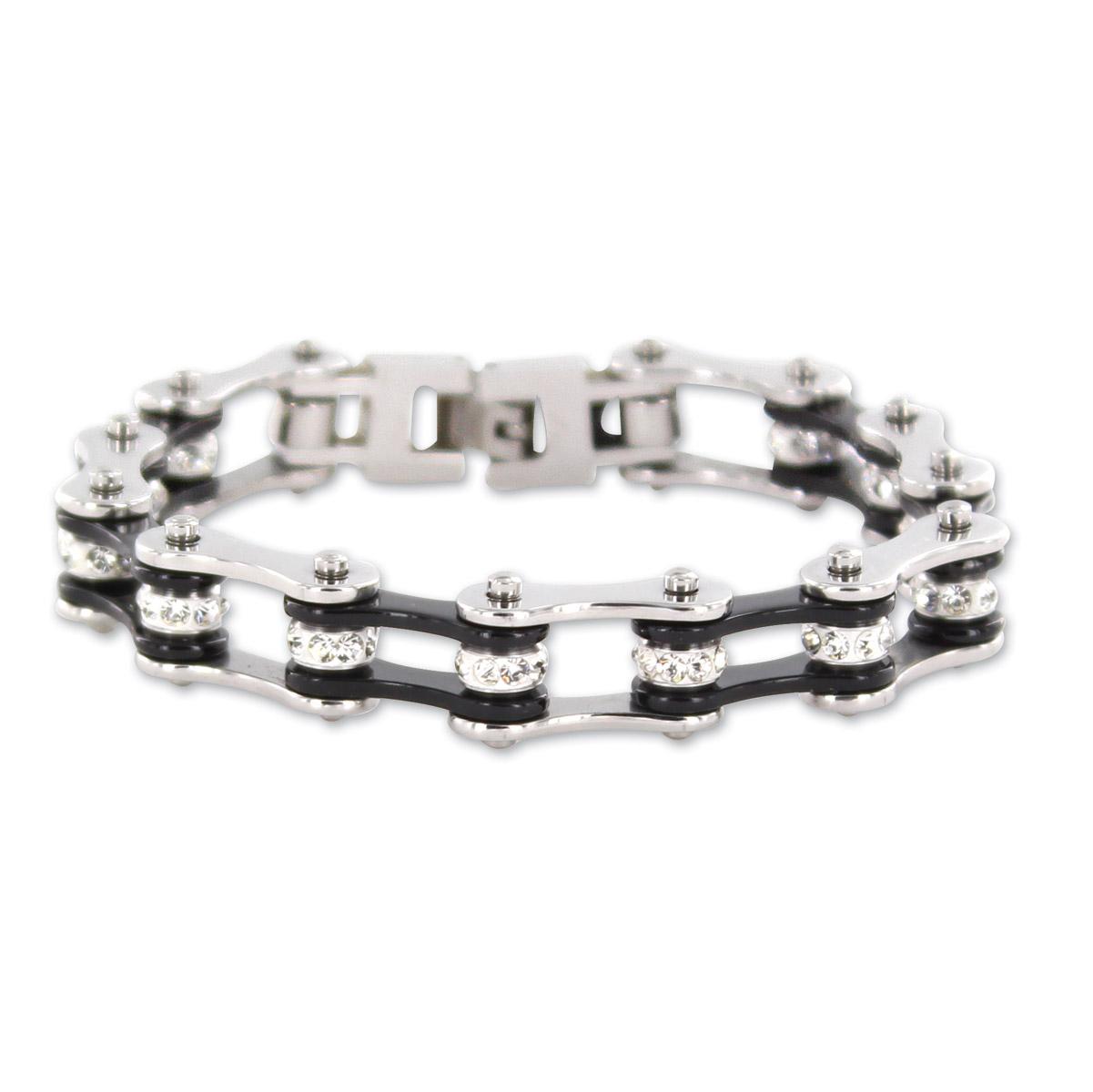 Kodiak Silver/Black with Crystals Chain Bracelet
