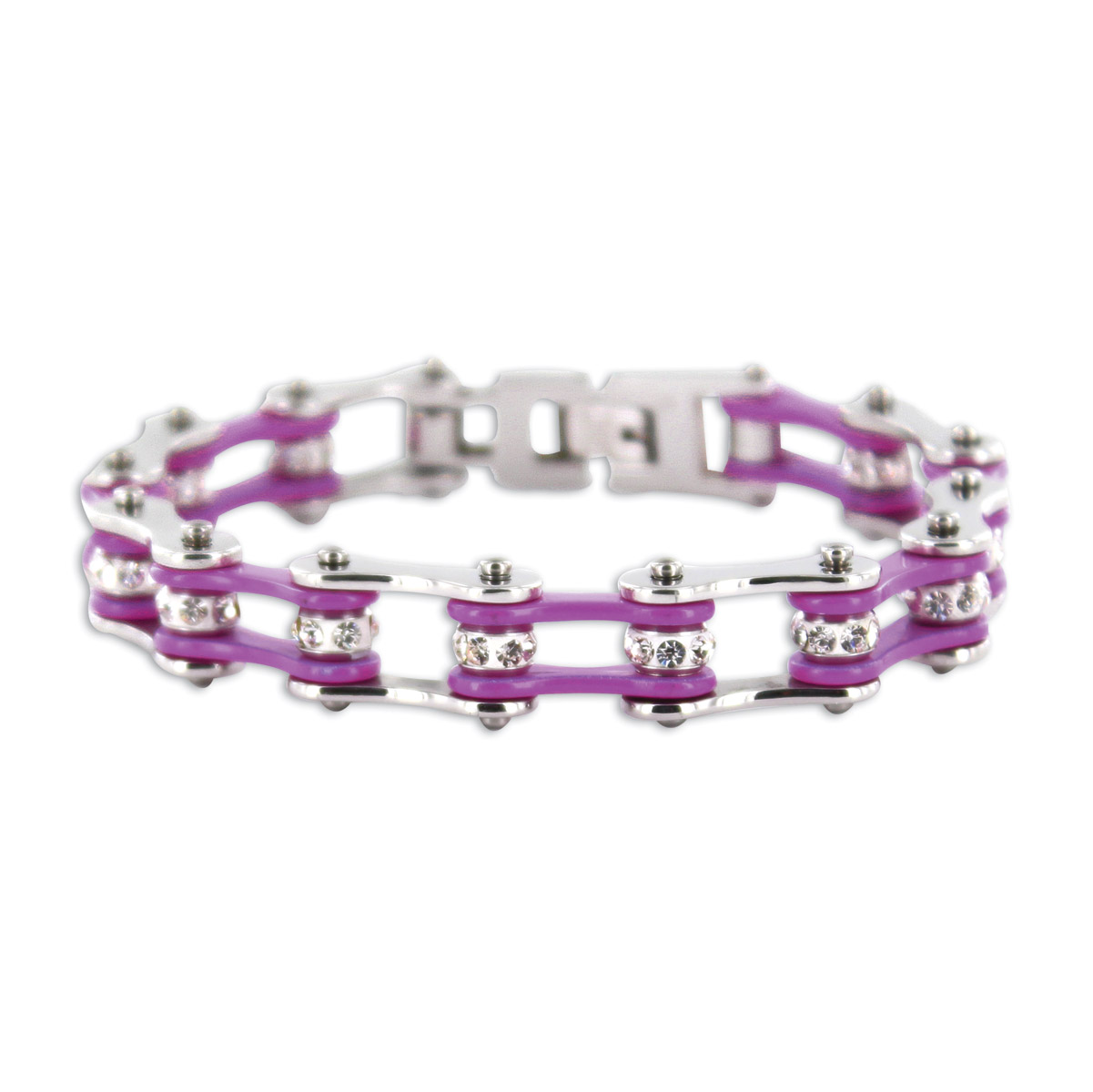 Kodiak Silver/Purple with Crystals Chain Bracelet