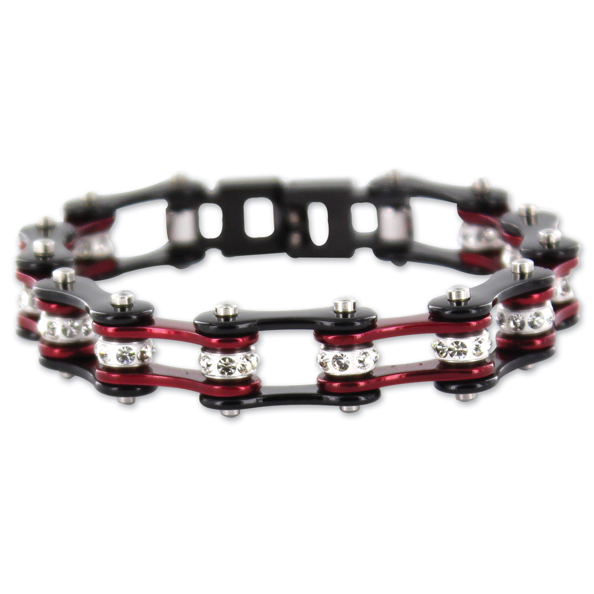 Kodiak Black/Candy Red with Crystals Chain Bracelet