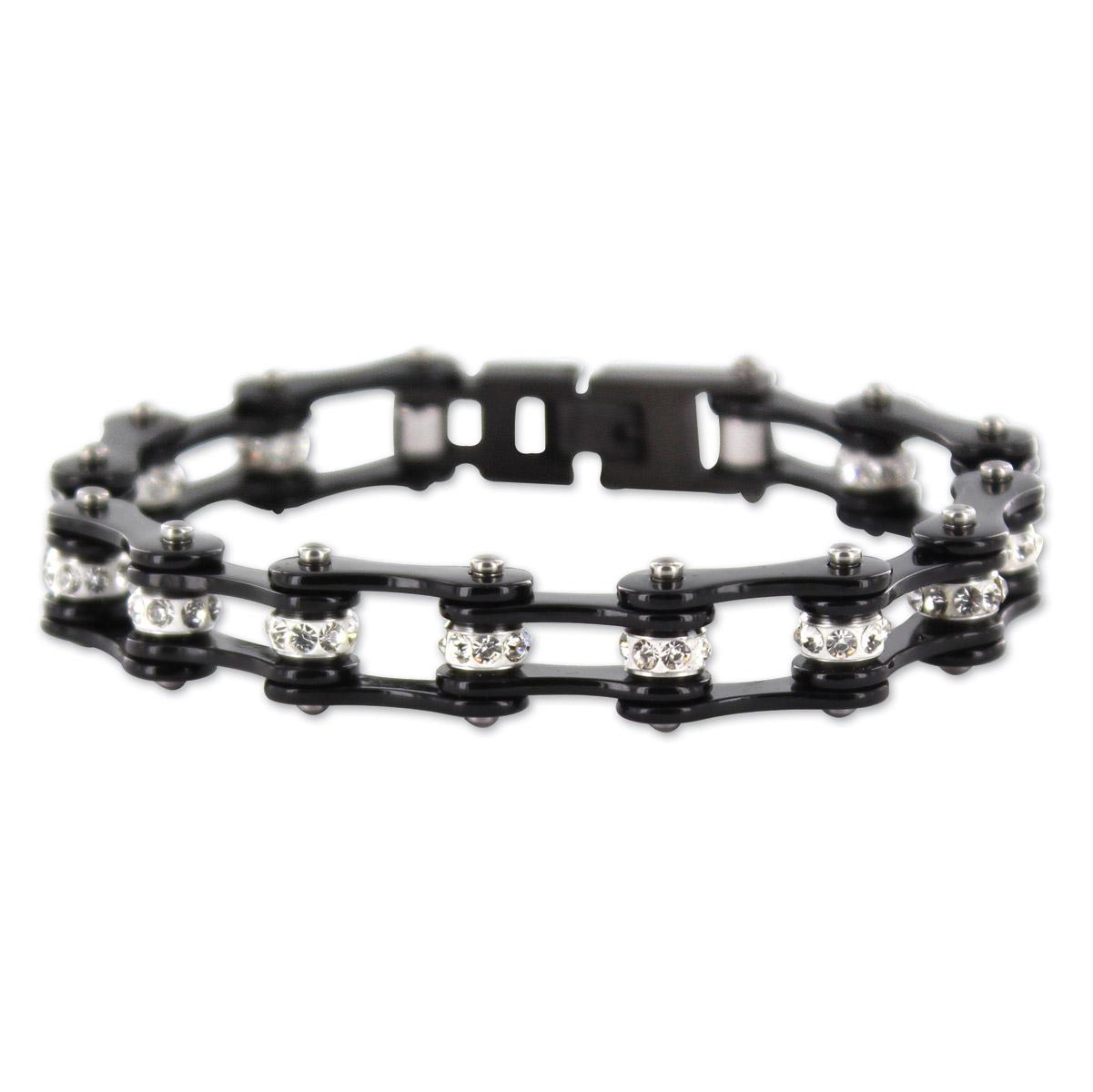 Kodiak All Black with Crystals Chain Bracelet