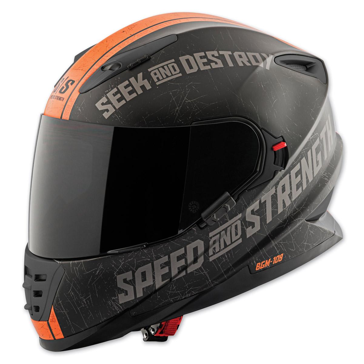 Speed and Strength SS1600 Cruise Missile Matte Black/Orange Full Face Helmet