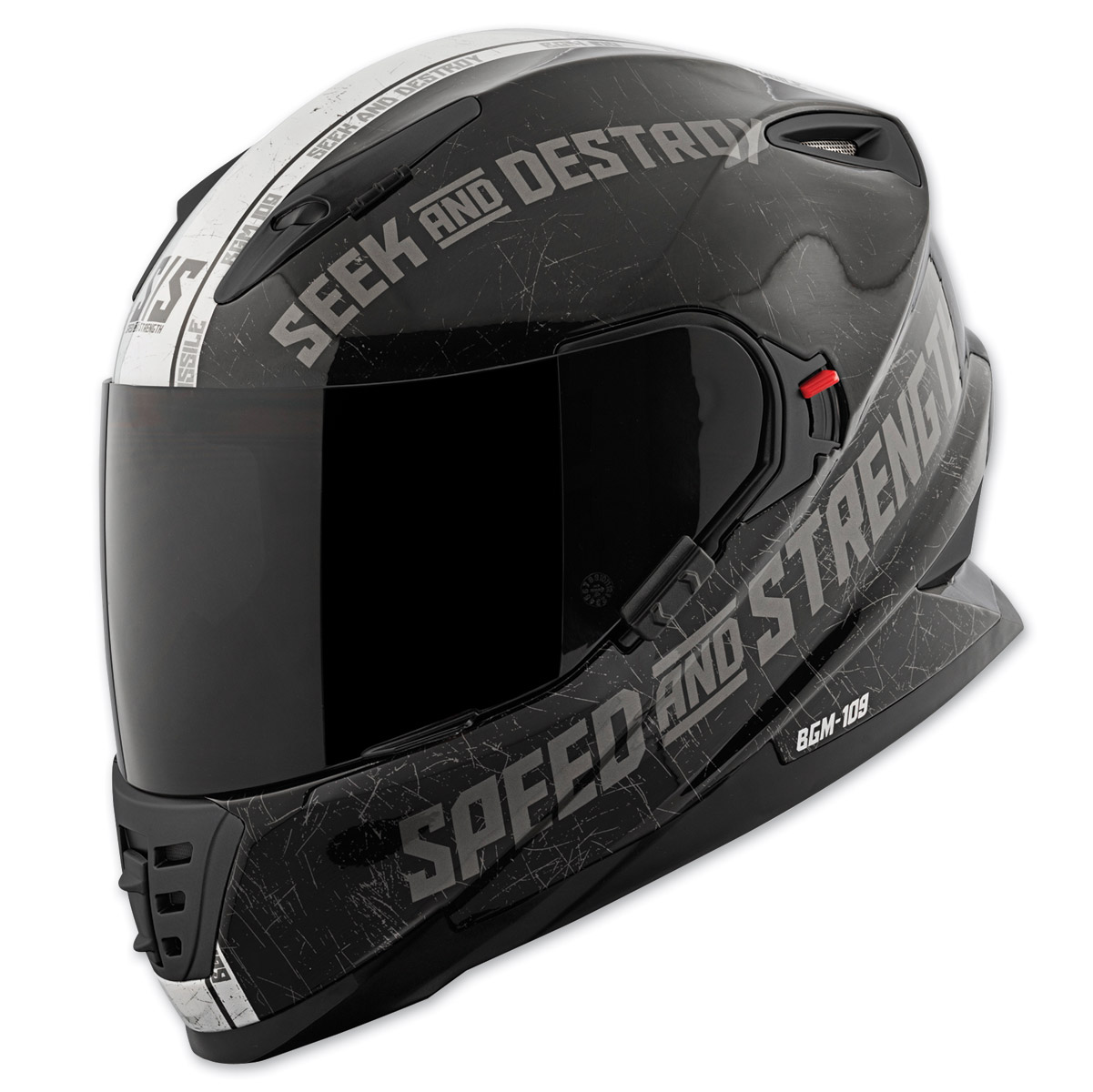 Speed and Strength SS1600 Cruise Missile Black/Silver Full Face Helmet