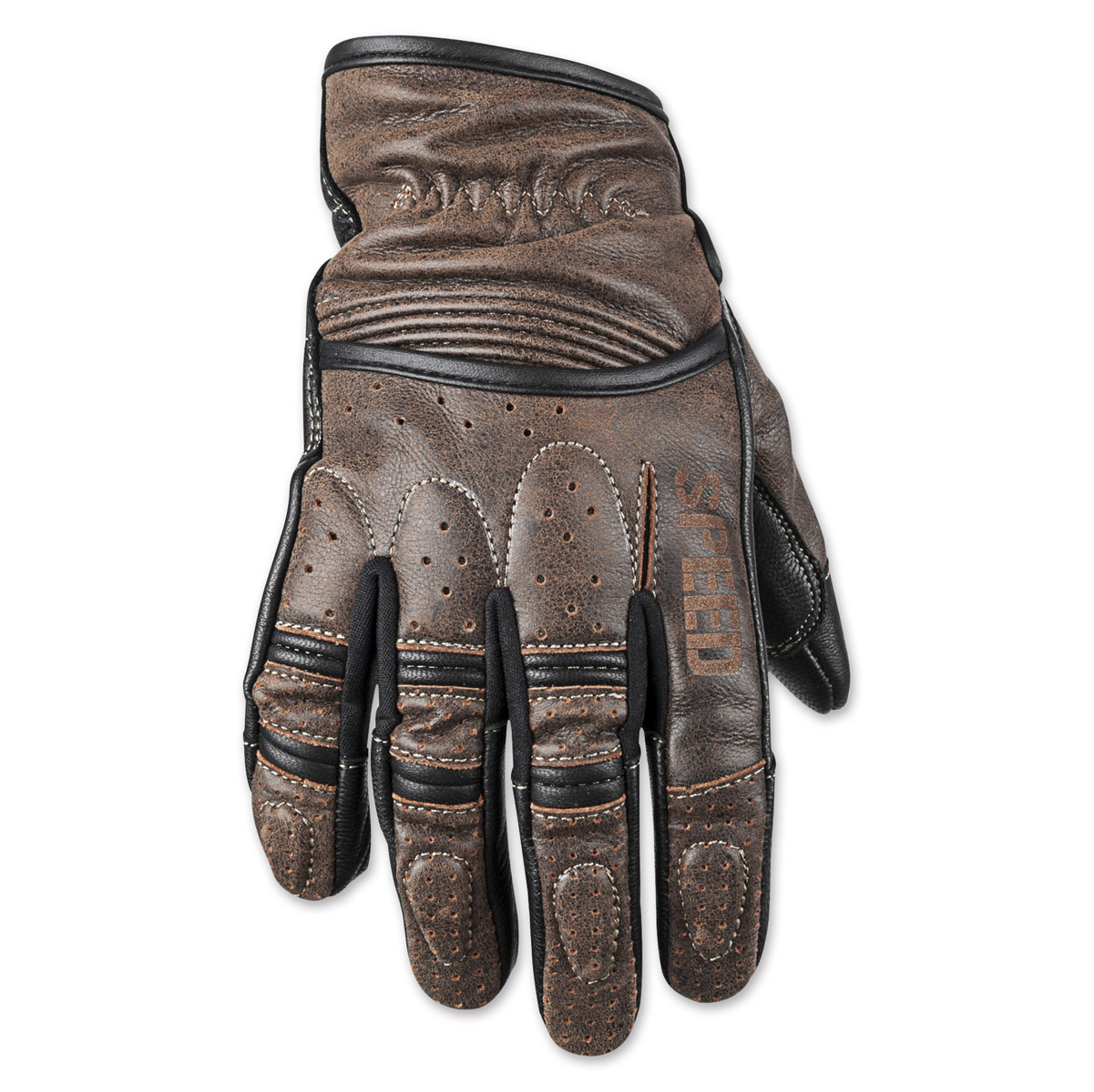 Leather Gauntlet Driving Gloves - Speed and strength rust and redemption distressed dark brown gloves