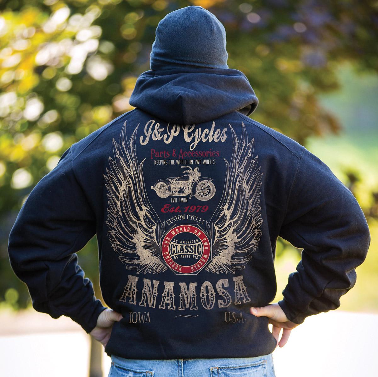 J&P Cycles® Men's Winged Classic Black Hoodie