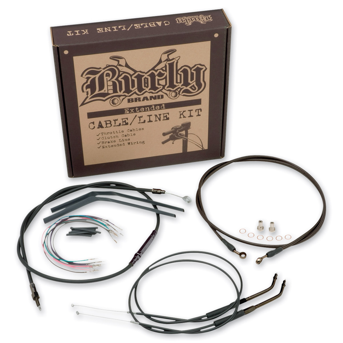 Burly Brand Black 16″ Ape Hanger Cable/Brake/Wiring Kit