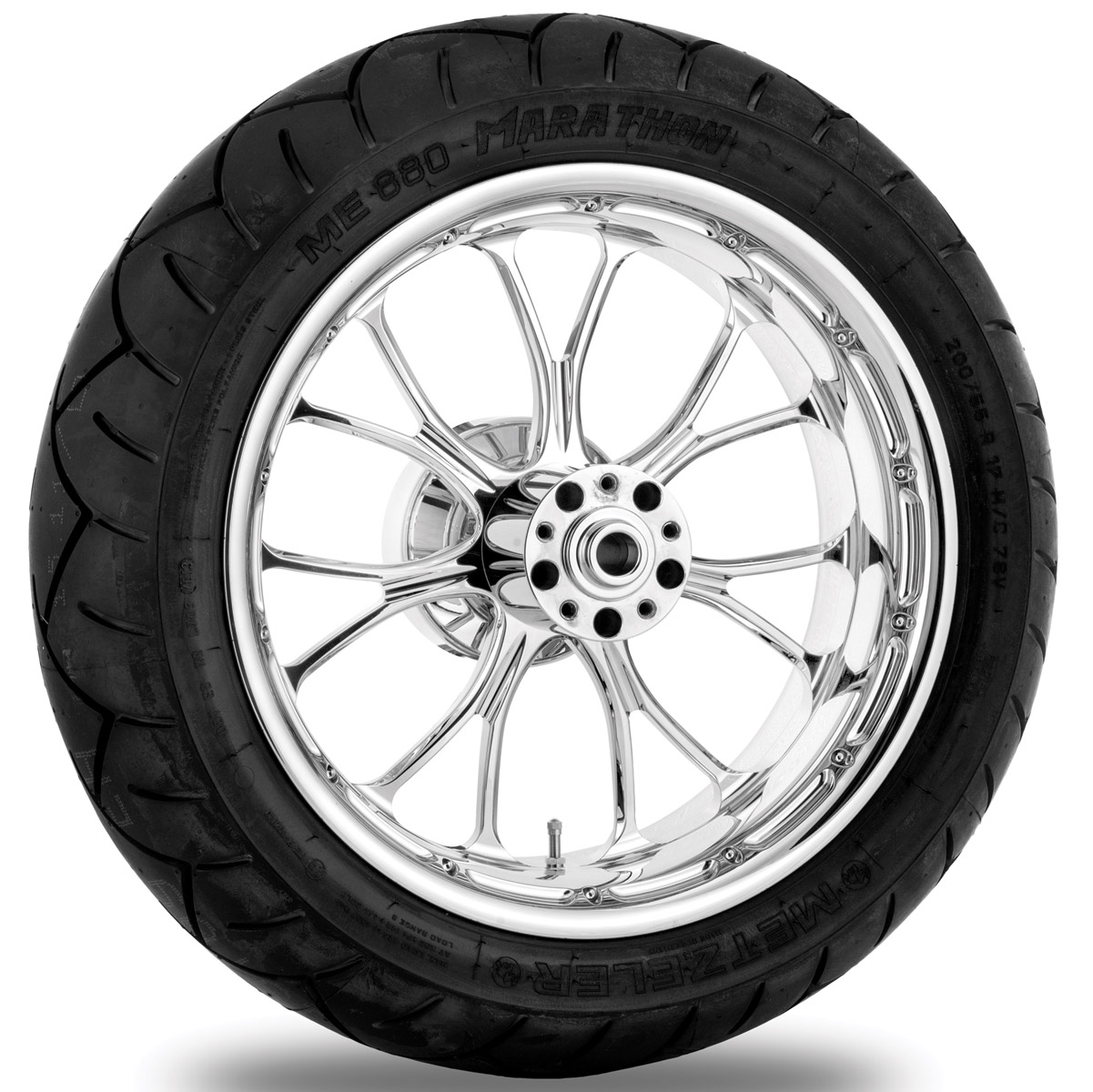 Performance Machine Heathen Chrome Rear Wheel Package, 17″ x 6″ with ABS