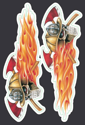 Lethal Threat Fire Department Skulls Mini Decal Set