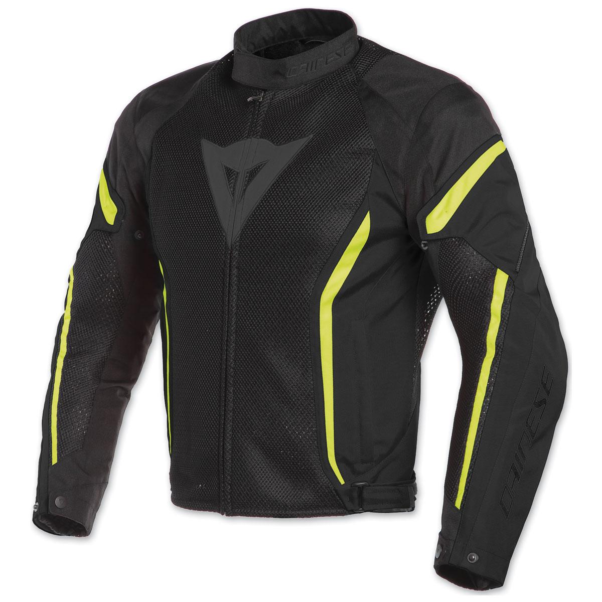 Dainese Men's Air Crono 2 Black/Black/Fluo Yellow Textile Jacket