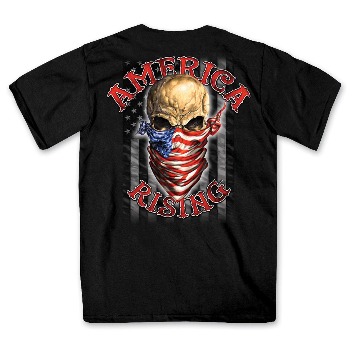 Hot Leathers Men's America Rising Black T-Shirt