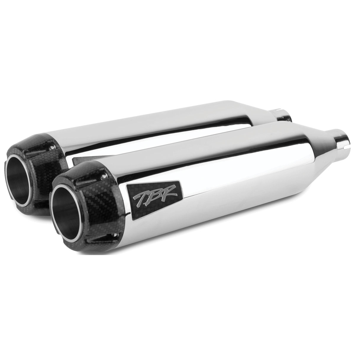 Two Brothers Racing Dual Shorty Slip-On Muffler Chrome with Carbon Fiber Tips