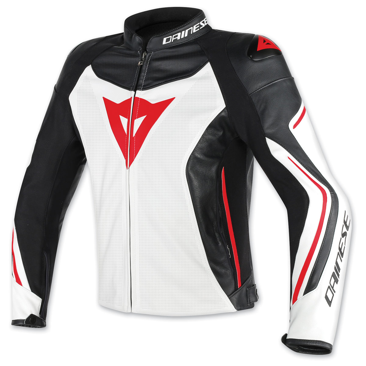Dainese Men's Assen Perforated White/Black/Red Leather Jacket