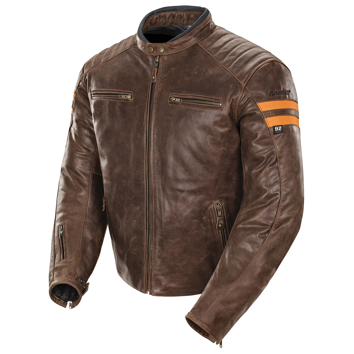 Joe Rocket Men's Classic '92 Brown/Orange Leather Jacket