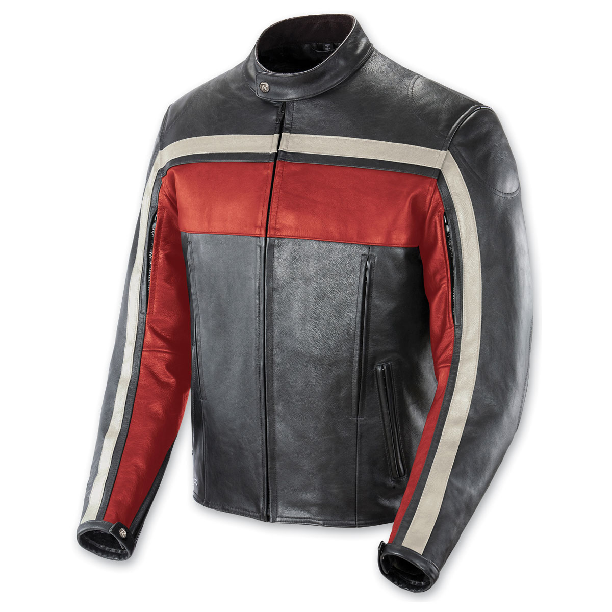 Joe Rocket Men's Old School Red/Black/Ivory Leather Jacket