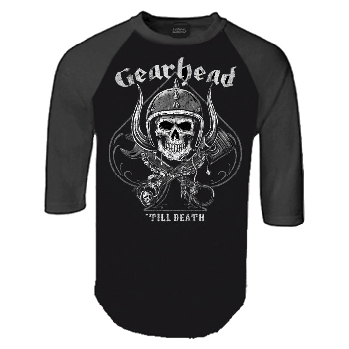 Lethal Threat Men's Gearhead Black/Charcoal Baseball Tee