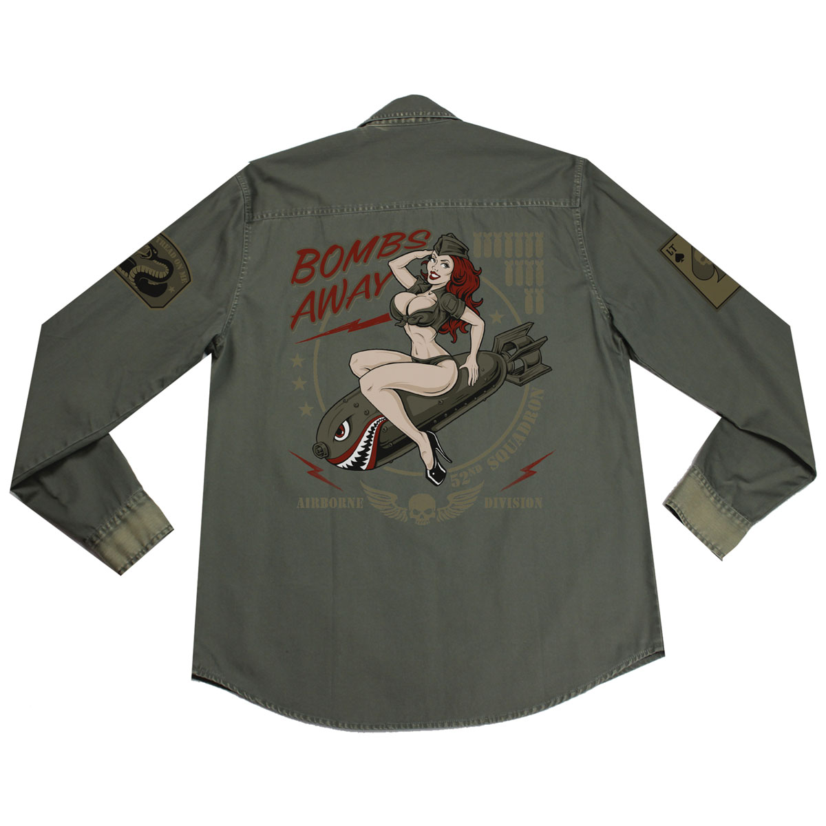 Lethal Threat Men's Bombs Away Olive Button Down Shirt