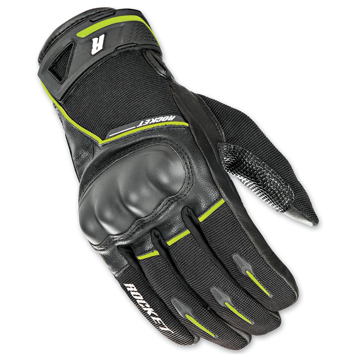 Joe Rocket Men's Super Moto Black/Hi-Viz Gloves