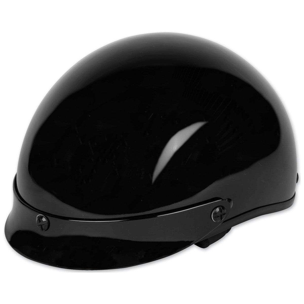 Black Brand Cheater .50 Gloss Black with White Logo Half Helmet