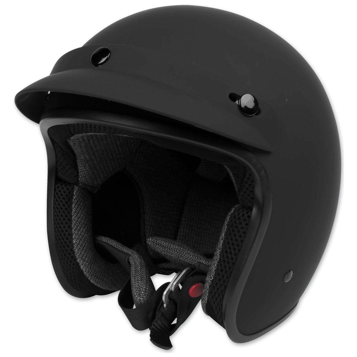 Black Brand Cheater .75 Matte Black Open Face Helmet