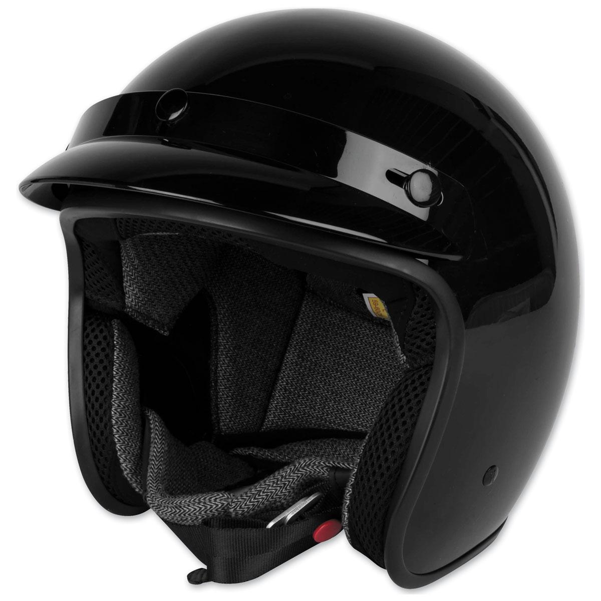Black Brand Cheater .75 Gloss Black Open Face Helmet