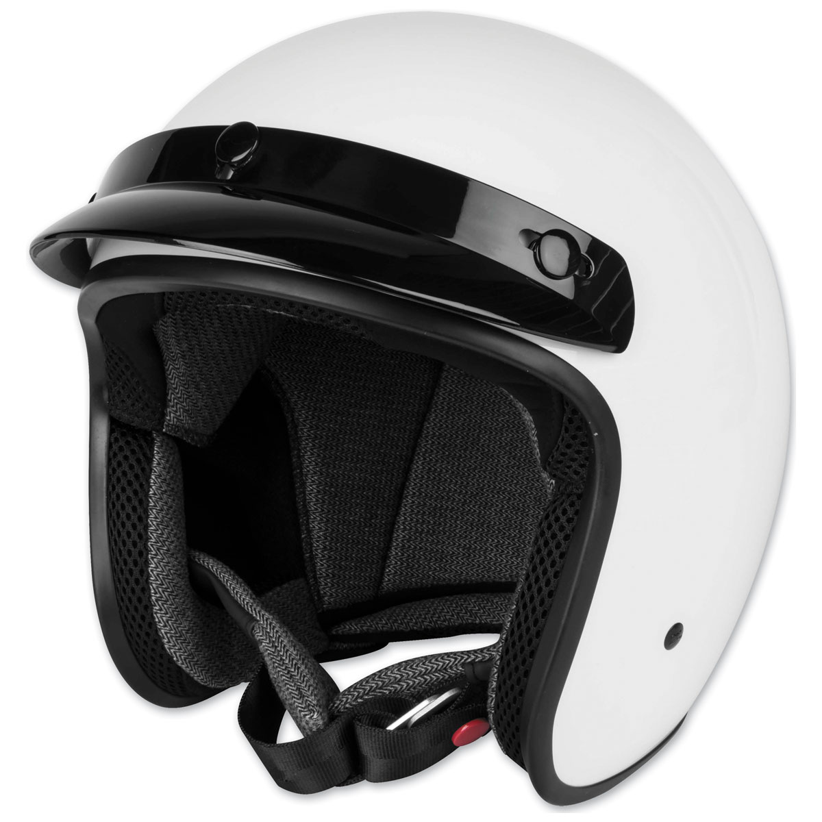 Black Brand Cheater .75 White Open Face Helmet