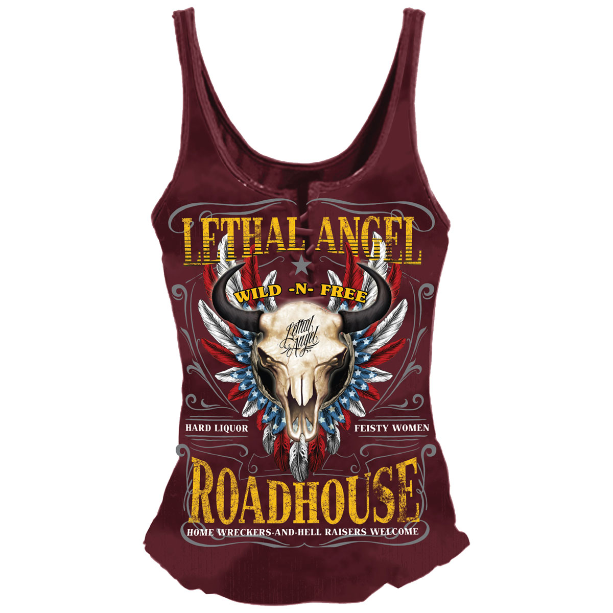 Lethal Angel Women's Roadhouse Lace Up Burgundy Tank Top