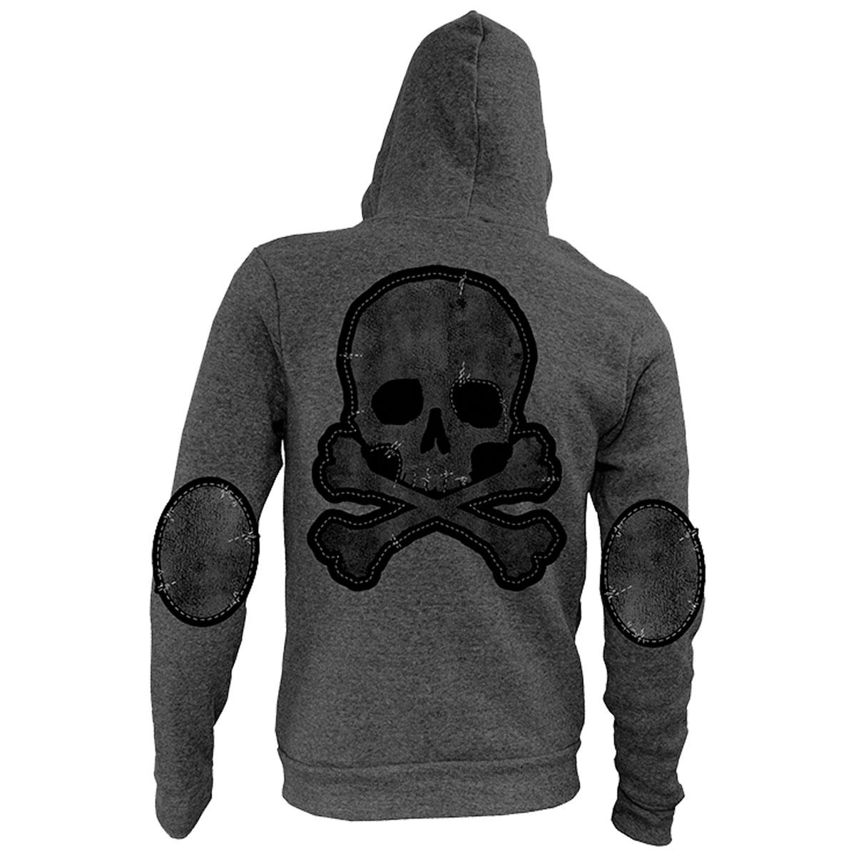 Lethal Angel Women's Grunge Skull Patch Gray Full Zip Hoodie