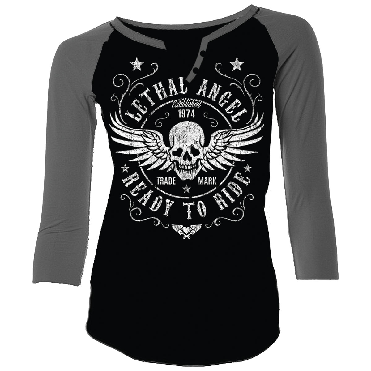 Lethal Angel Women's Ready to Ride Curvy Black/Gray Baseball Tee